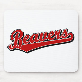Beavers script logo in red mouse pad
