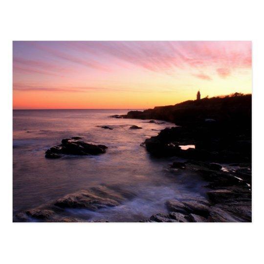Beavertail Ocean Bluffs Lighthouse Sunset Postcard