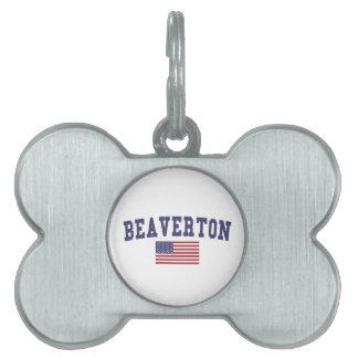 Beaverton US Flag Pet Name Tag