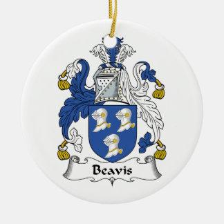 Beavis Family Crest Double-Sided Ceramic Round Christmas Ornament