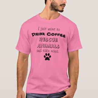 beba el café, rescate los animales, siestas de la playera