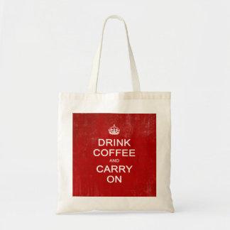 Beba el café y continúe, guarde la parodia bolsa tela barata
