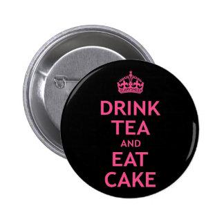 Beba el té y coma la torta pin redondo de 2 pulgadas