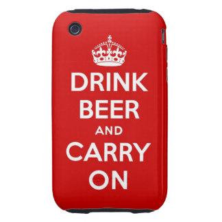 Beba la cerveza y continúe tough iPhone 3 funda
