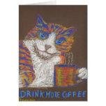 Beba más tarjeta del gato del café