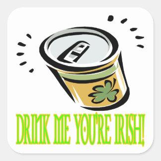 Bébame su irlandés calcomanías cuadradas