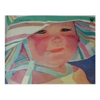Bebé 1934 de la playa del vintage postal