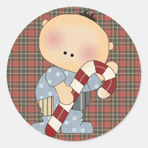 bebé 2 del bastón de caramelo pegatina redonda