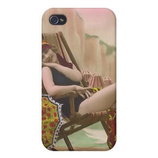 Bebé 4 de la playa del bañista de Sun del vintage iPhone 4/4S Carcasa