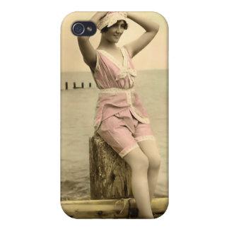 Bebé 4 de la playa del bañista de Sun del vintage iPhone 4 Cárcasas