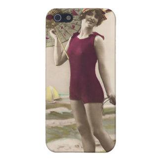 Bebé 4 de la playa del bañista de Sun del vintage iPhone 5 Coberturas
