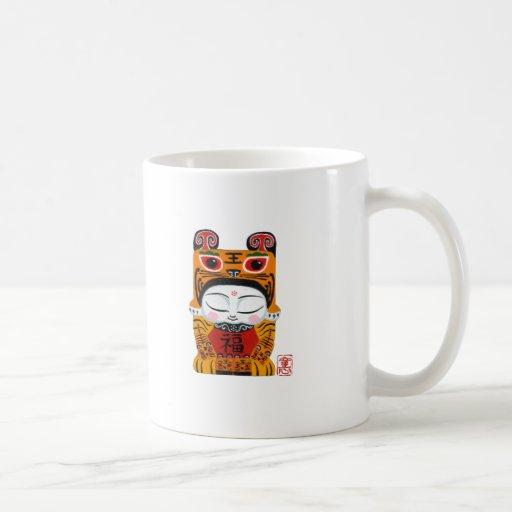 Bebé afortunado del tigre tazas de café