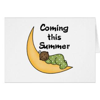 Bebé afroamericano el verano de la luna felicitacion