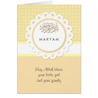 Bebé amarillo de los musulmanes de la enhorabuena tarjeta de felicitación