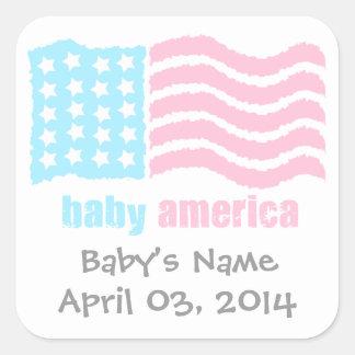 bebé América Pegatina Cuadrada