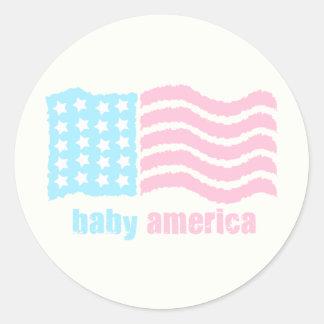 bebé América Pegatina Redonda