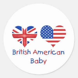 Bebé americano británico etiqueta redonda