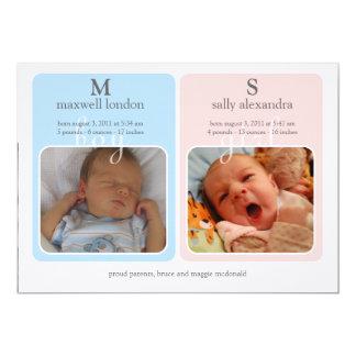 Bebé Announcment - monograma de los gemelos