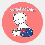 Bebé australiano etiqueta redonda