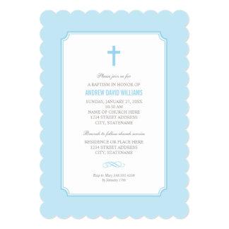 Bebé azul de la invitación el   del bautismo invitación 12,7 x 17,8 cm
