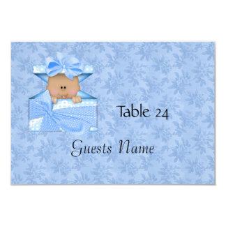 """Bebé azul de la tarjeta de la colocación de la invitación 3.5"""" x 5"""""""