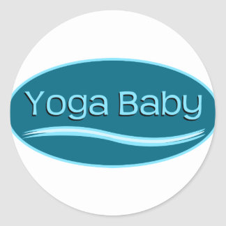 Bebé azul de la yoga pegatina redonda