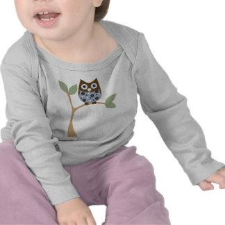 Bebé azul del búho camiseta