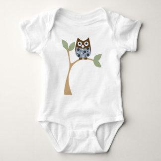 Bebé azul del búho playeras