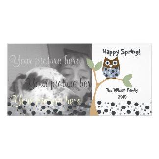 Bebé azul del búho tarjetas personales con fotos