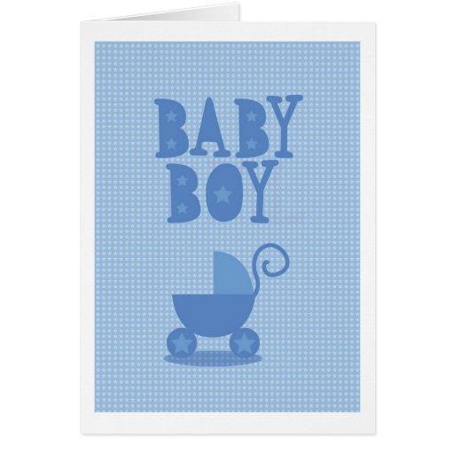 BEBÉ azul del cochecito de niño de saludos travies Tarjeta De Felicitación