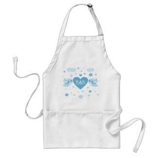 Bebé azul del corazón de los pájaros del amor delantal