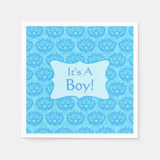 Bebé azul del damasco su una invitación del servilleta desechable