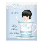 Bebé azul del muchacho de la fiesta de bienvenida  invitaciones personalizada