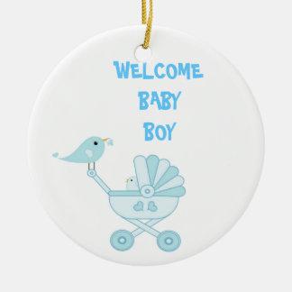 Bebé azul lindo adorno redondo de cerámica