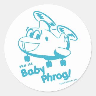 Bebé azul Phrog Pegatina Redonda