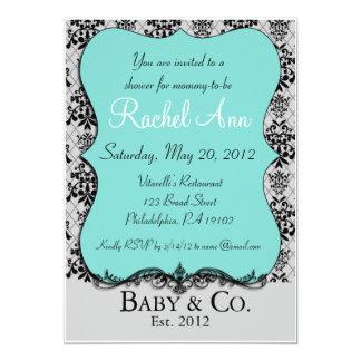 Bebé azul y tarjeta de la invitación de la ducha