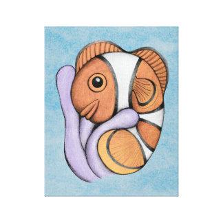 Bebé Clownfish de la simbiosis Impresion De Lienzo