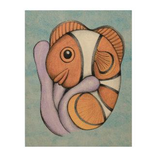 Bebé Clownfish de la simbiosis Impresión En Madera