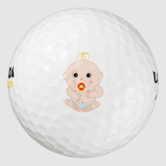 Bebé con el dibujo animado del pacificador pack de pelotas de golf