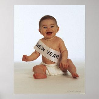 Bebé con el marco del Año Nuevo Póster