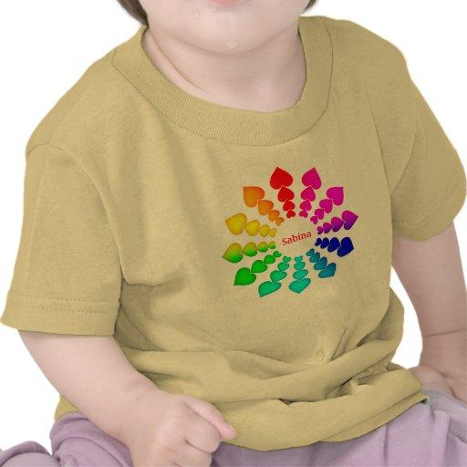 Bebé con los corazones del color - regalo especial camiseta