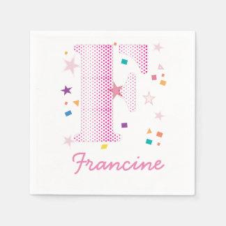 Bebé con monograma femenino lindo de la letra F Servilleta De Papel