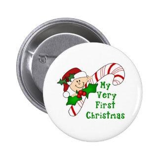 Bebé con navidad del bastón de caramelo el primer pin redondo 5 cm