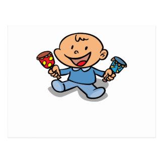 Bebé con traqueteos tarjetas postales