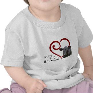 Bebé conseguido negro camisetas