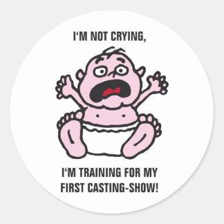 Bebé cry etiqueta redonda