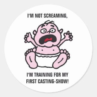 Bebé cry etiquetas redondas