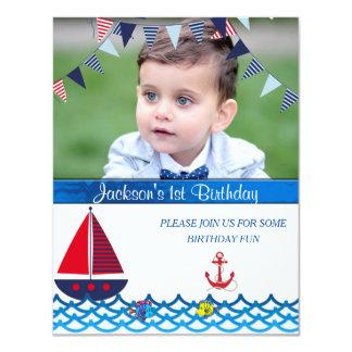 Bebé, cumpleaños, invitación náutica, de encargo