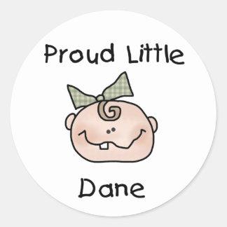 Bebé danés orgulloso del chica pegatina redonda