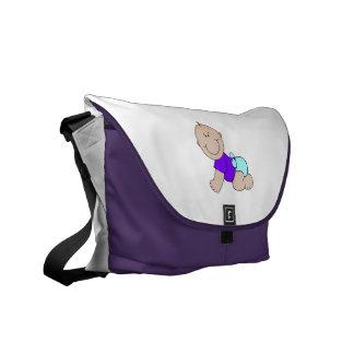 Bebé de arrastre lindo azul púrpura bolsas de mensajeria
